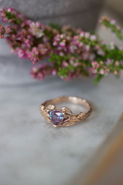Lab alexandrite ring, trillion cut / Clematis - Eden Garden Jewelry