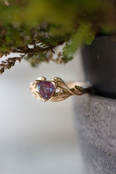 Nature inspired engagement ring with trillion cut alexandrite