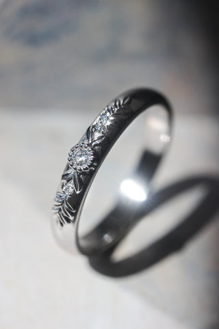 White gold wedding band with three diamonds, wreath ring - Eden Garden Jewelry