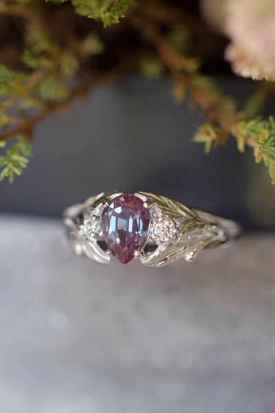 Pear alexandrite ring with diamonds, leaf engagement ring / Wisteria - Eden Garden Jewelry