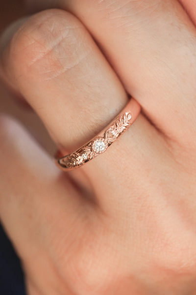 Three diamonds wedding band for woman, wreath ring - Eden Garden Jewelry