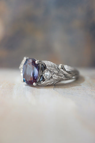 Oval alexandrite ring with diamonds, leaf engagement ring / Wisteria