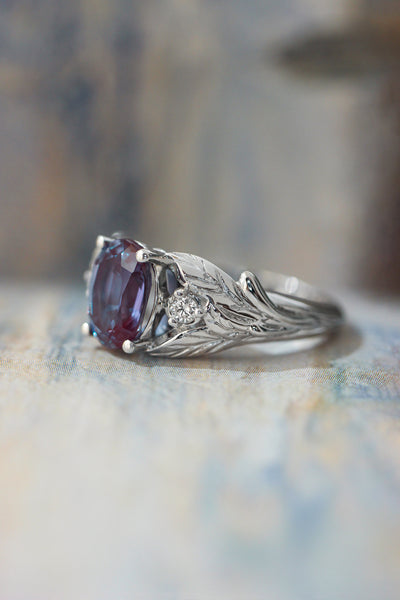 Oval alexandrite ring with diamonds, leaf engagement ring / Wisteria - Eden Garden Jewelry