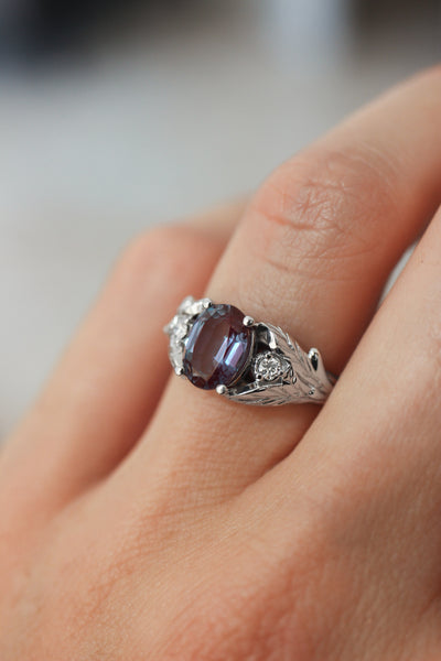 Oval alexandrite ring with diamonds, leaf engagement ring / Wisteria - Eden Garden Jewelry™