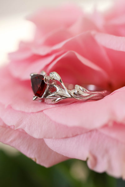 Trillion cut red garnet branch ring / Clematis - Eden Garden Jewelry