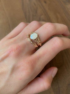 Custom request: bridal ring set with oval opal - Eden Garden Jewelry