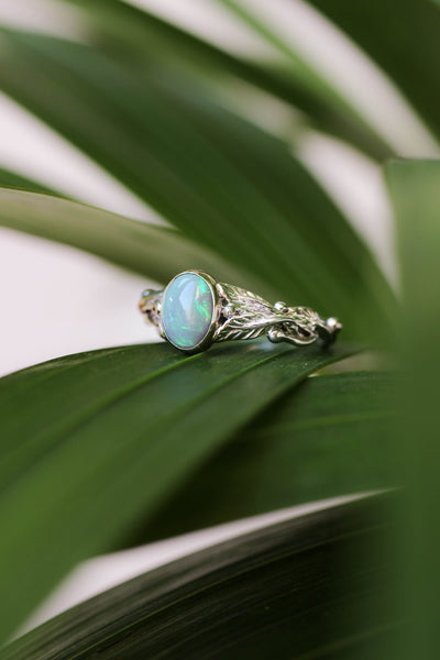 Green opal engagement ring / Cornus - Eden Garden Jewelry