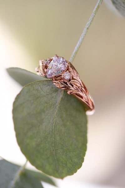 Pear cut moissanite engagement ring, leaf style band / Wisteria - Eden Garden Jewelry