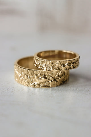 Wedding bands set for couple, rock textured rings - Eden Garden Jewelry
