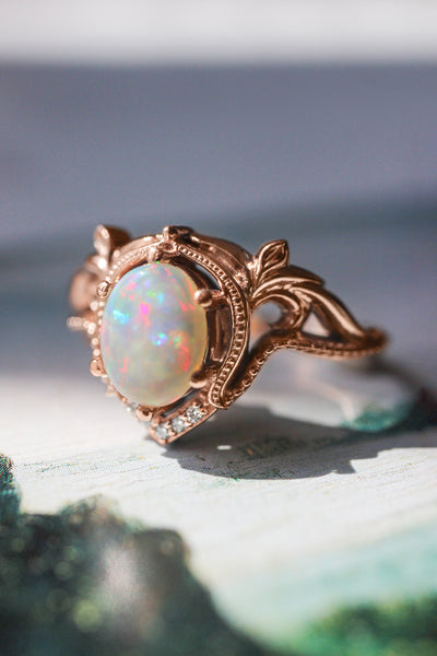 Opal and moissanites or diamonds engagement ring / Lida oval - Eden Garden Jewelry