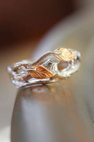 Wedding band for him, white gold branch with rose gold leaves