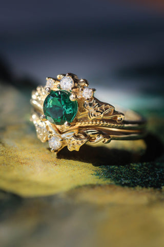 Bridal ring set with lab emerald and diamonds / Ariadne - Eden Garden Jewelry