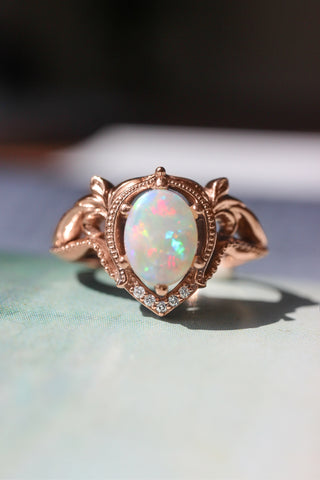 Opal and moissanites or diamonds engagement ring / Lida oval - Eden Garden Jewelry™