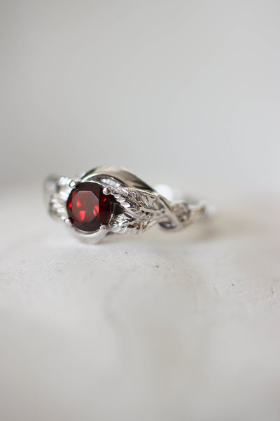 Nature inspired engagement ring, white gold ring with red garnet