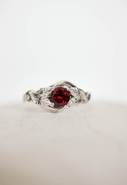 Garnet nature inspired engagement ring / Azalea - Eden Garden Jewelry