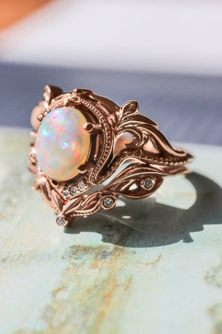 Opal and diamonds bridal ring set / Lida oval - Eden Garden Jewelry™