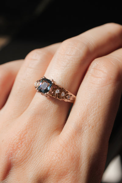 Grey spinel ring with diamonds, leaf engagement ring - Eden Garden Jewelry