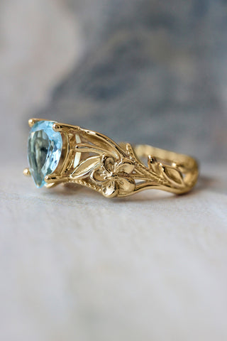 Aquamarine engagement ring, art nouveau ring / Eloise - Eden Garden Jewelry™