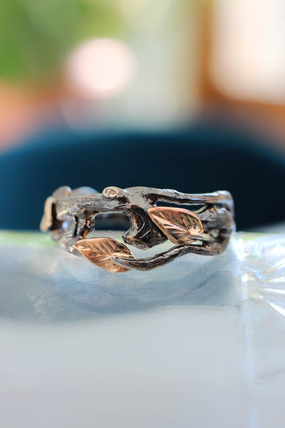 Branch wedding band, black and gold ring - Eden Garden Jewelry