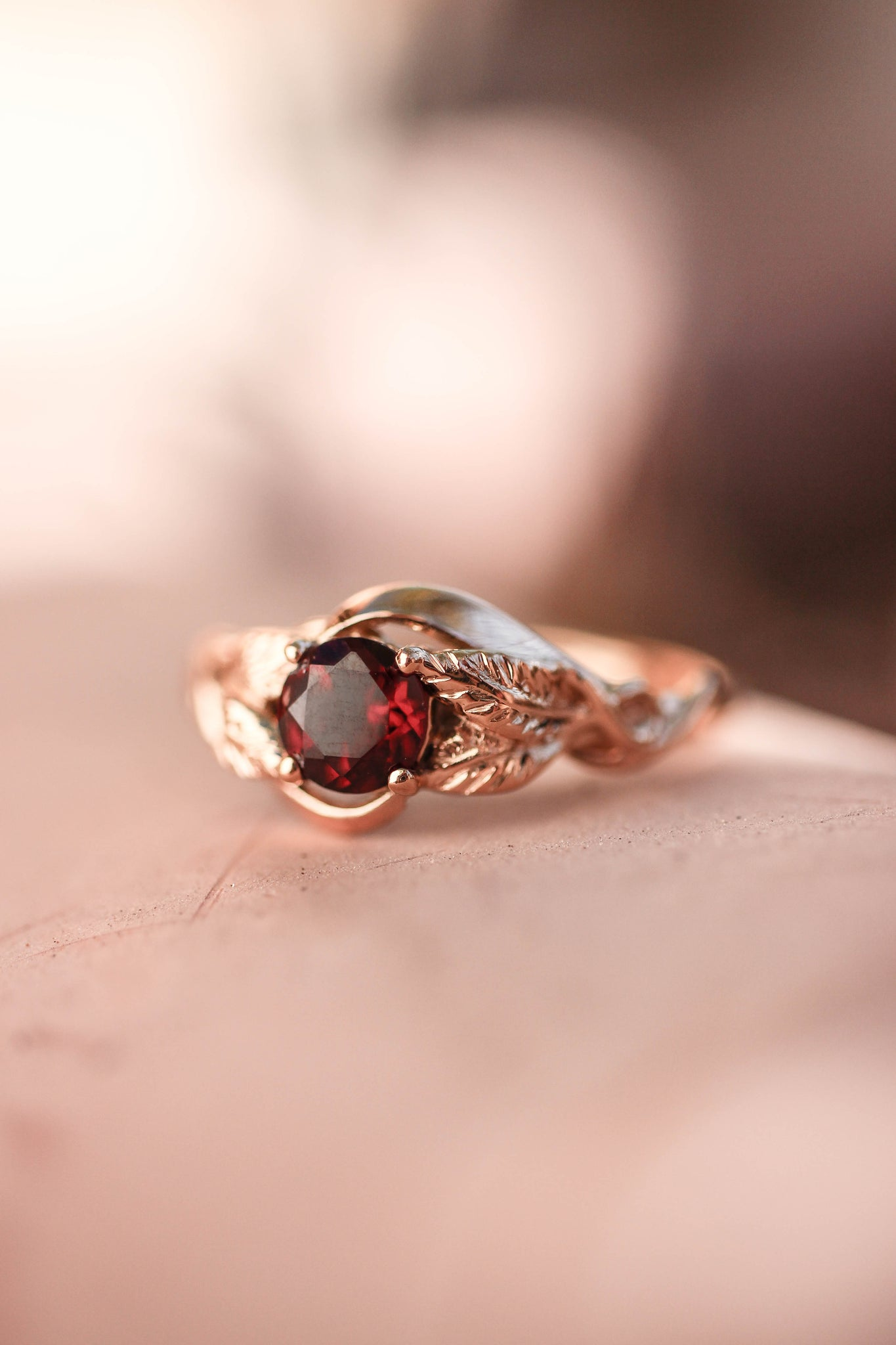 Red garnet engagement ring, nature inspired engagement ring