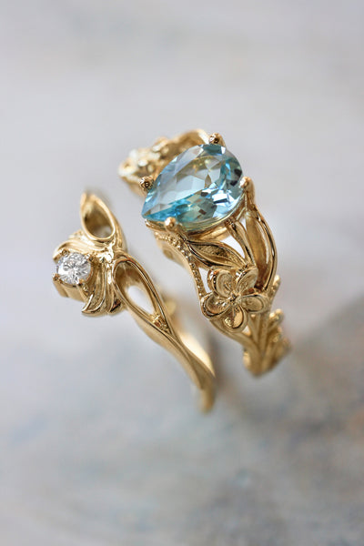 Aquamarine bridal ring set, art nouveau ring / Eloise - Eden Garden Jewelry™