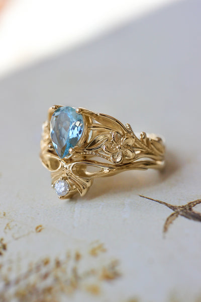 Aquamarine bridal ring set, art nouveau ring / Eloise - Eden Garden Jewelry