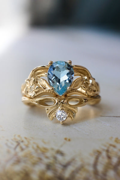 Aquamarine engagement ring, art nouveau ring / Eloise - Eden Garden Jewelry