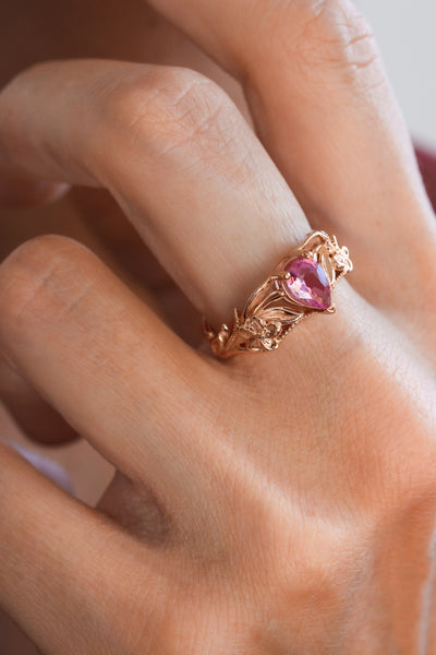Pink sapphire bridal ring set, art nouveau ring / Eloise - Eden Garden Jewelry