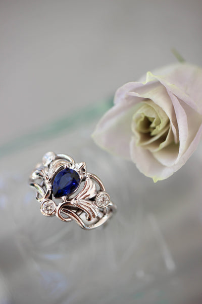 Art Nouveau ring with lab sapphire and moissanites - Eden Garden Jewelry