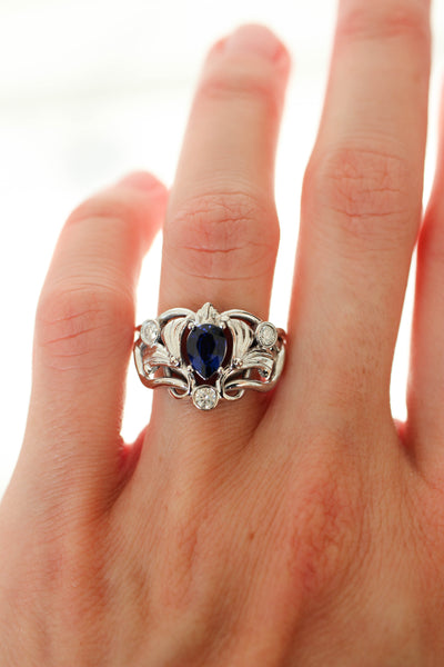 Custom order: Art Nouveau ring with lab alexandrite, sapphire and moissanite - Eden Garden Jewelry