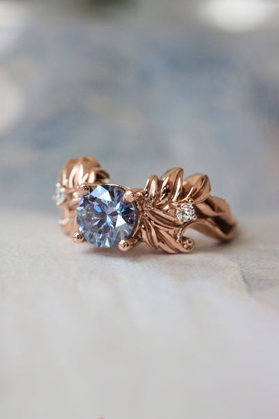 Blue moissanite bridal ring set, leaf engagement ring - Eden Garden Jewelry