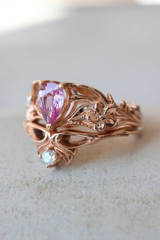 Pink sapphire bridal ring set, art nouveau ring / Eloise - Eden Garden Jewelry™