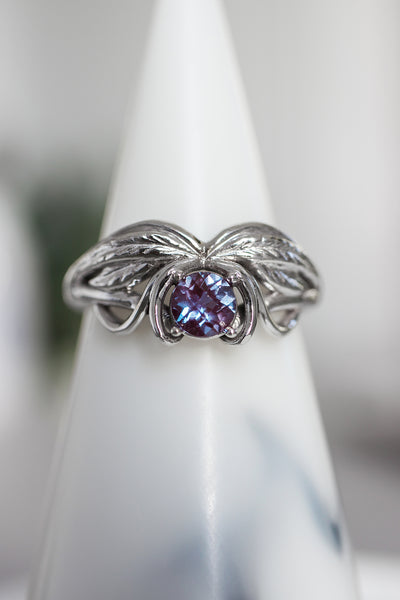Alexandrite engagement ring, winged ring / Aurelia - Eden Garden Jewelry