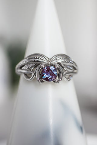 Alexandrite engagement ring, winged ring / Aurelia