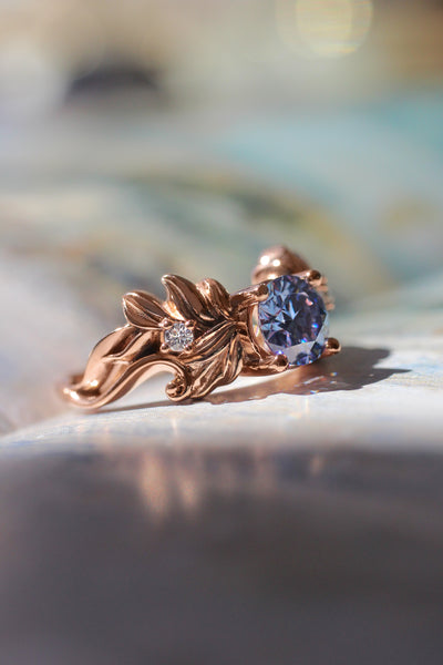 Blue moissanite ring, leaf engagement ring - Eden Garden Jewelry