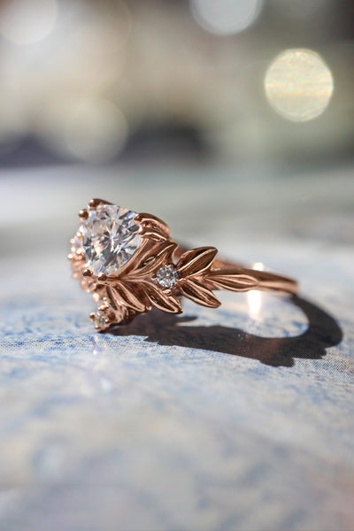 Trillion cut moissanite ring, leaf engagement ring - Eden Garden Jewelry