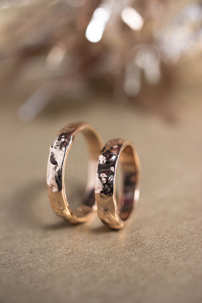 Wedding bands set for couple, textured rings
