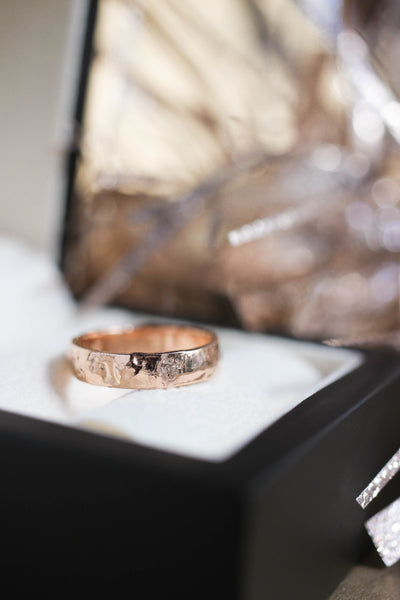Textured wedding band, yellow gold ring - Eden Garden Jewelry
