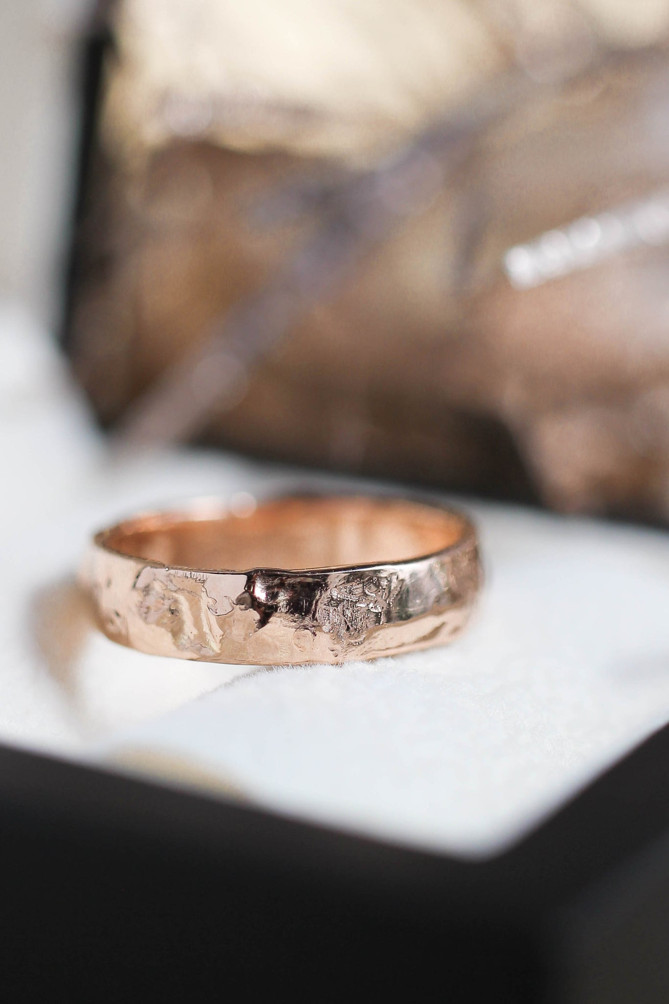 Textured wedding band, unisex ring - Eden Garden Jewelry