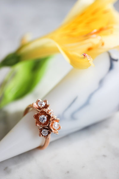 Lily of the valley ring with synthetic diamonds - Eden Garden Jewelry™