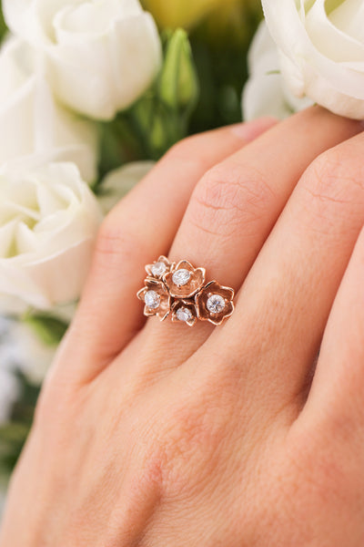Lily of the valley ring with synthetic diamonds - Eden Garden Jewelry