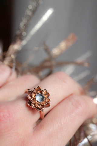 Rose gold lotus ring with moonstone, flower engagement ring