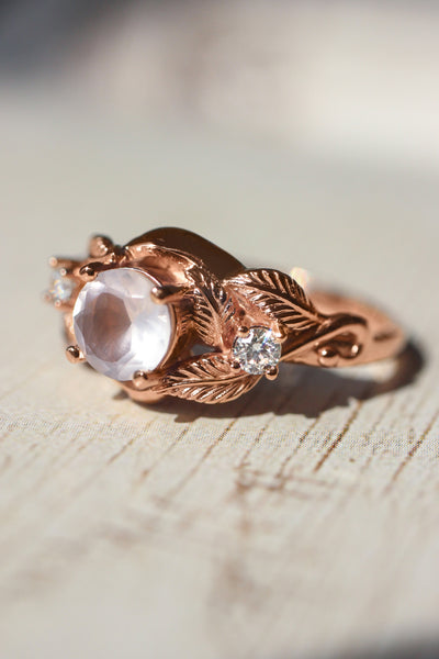 Rose quartz and diamonds engagement ring / Azalea - Eden Garden Jewelry