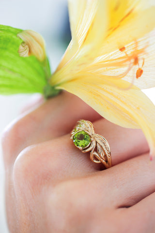 Peridot engagement ring, winged ring / Aurelia - Eden Garden Jewelry