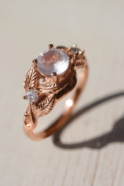 Rose quartz and diamonds engagement ring / Azalea - Eden Garden Jewelry™