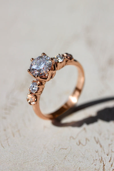 1ct moissanite ring, floral engagement ring - Eden Garden Jewelry