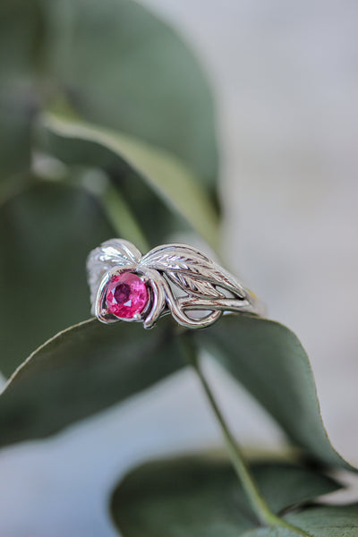 Natural ruby engagement ring, winged ring / Aurelia - Eden Garden Jewelry