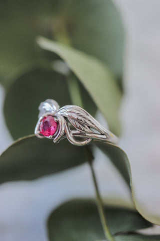 Natural ruby engagement ring, winged ring / Aurelia