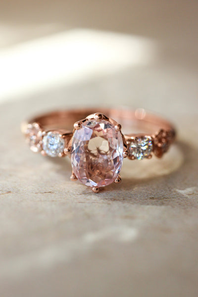 Bridal set with morganite and diamonds - Eden Garden Jewelry™