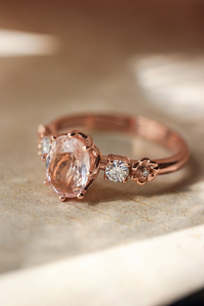 Oval morganite engagement ring - Eden Garden Jewelry